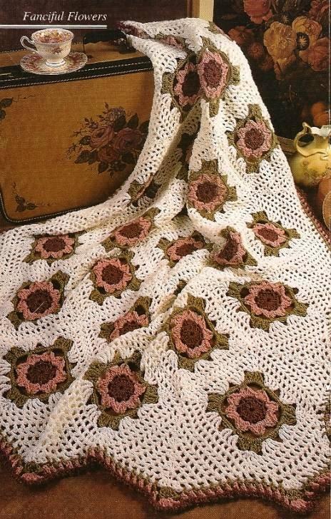 X285 Crochet PATTERN ONLY Tea Rose Afghan Pattern