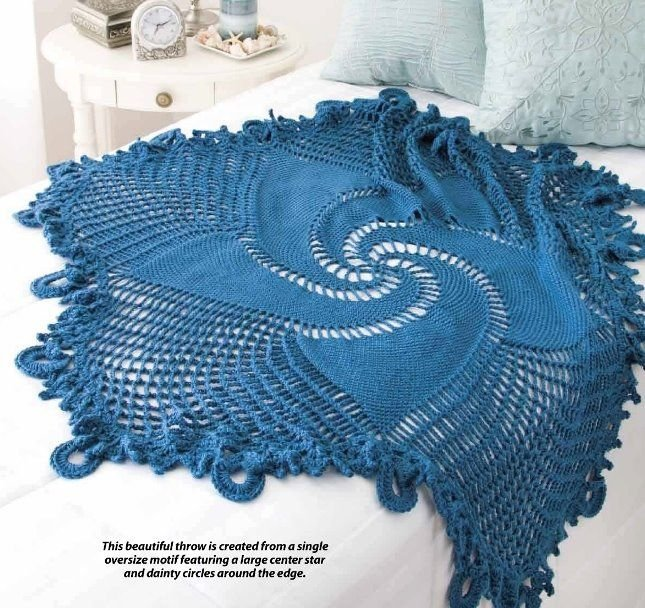 W378 Crochet PATTERN ONLY Blue Mandala Throw - Swirled Star Motif Pattern