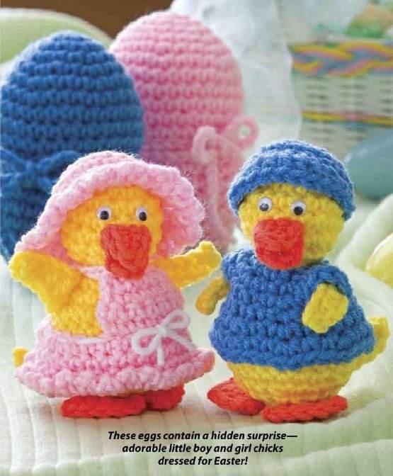 W207 Crochet PATTERN ONLY Boy and Girl Little Duck Easter Eggs Pattern