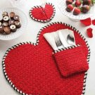 W306 Crochet PATTERN ONLY Heart Shape Place Mat Napkin Holder Coaster Pattern