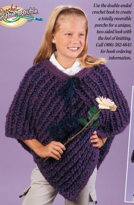W233 Crochet PATTERN ONLY Crochet on the Double Poncho Pattern
