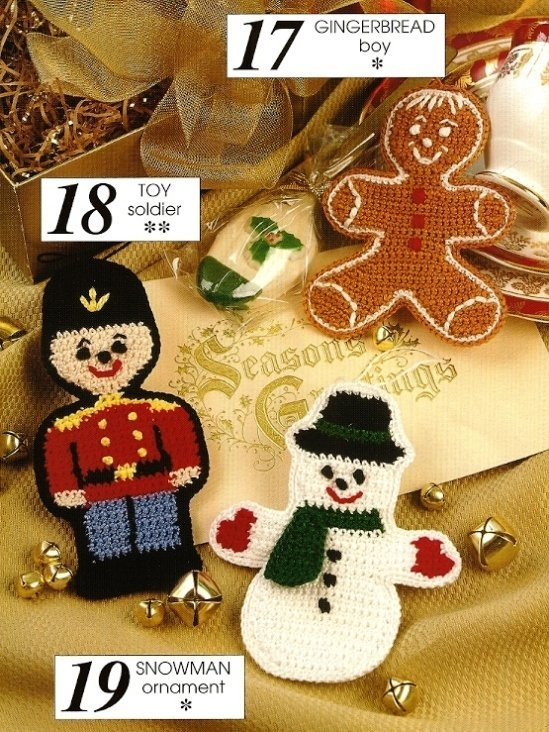 X749 Crochet PATTERN ONLY Gingerbread Cookie, Toy Soldier & Snowman Ornaments