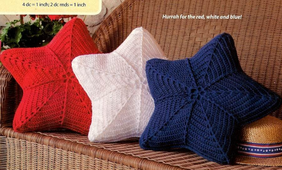 Y736 Crochet PATTERN ONLY Patriotic Stars Pillow Pattern