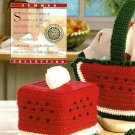 Y694 Crochet PATTERN ONLY Watermelon Basket Tissue Box Cover and Sachet Patterns