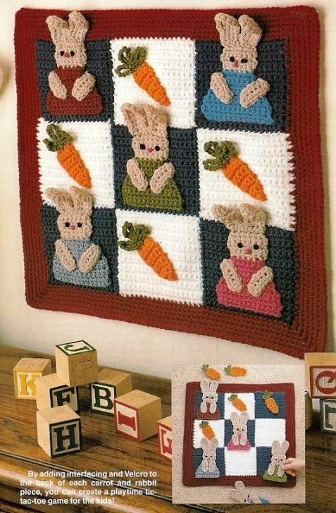 X254 Crochet PATTERN ONLY Bunny Wall Hanging & Tic-Tac-Toe Game Pattern