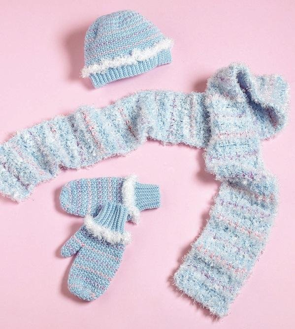 Y880 Crochet PATTERN ONLY Little Girl's Soft Winter Hat Scarf Mittens Patterns