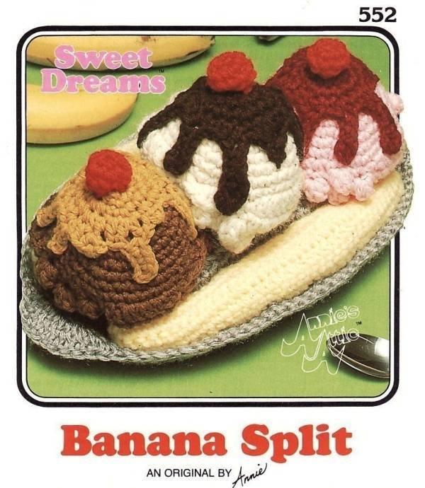 X647 Crochet PATTERN ONLY Annie's Attic Sweet Dreams Banana Split Black & White