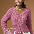 Y702 Crochet PATTERN ONLY Day to Evening Sweater Top Long Sleeve Sized to 3XL