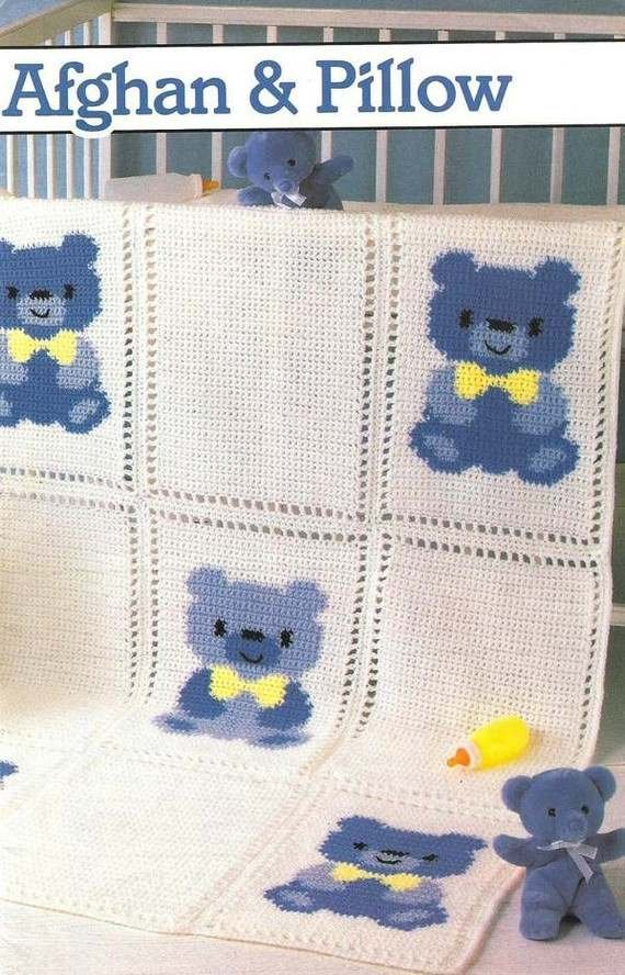 X458 Crochet PATTERN ONLY Country Teddy Bear Afghan & Pillow Pattern