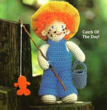 Y242 Crochet PATTERN ONLY Fishing Freddie Boy Doll Toy Pattern