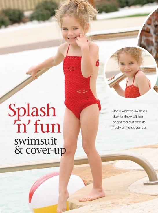 W146 Crochet PATTERN ONLY Little Girl Swimsuit & Cover Up Pattern Splash Fun!