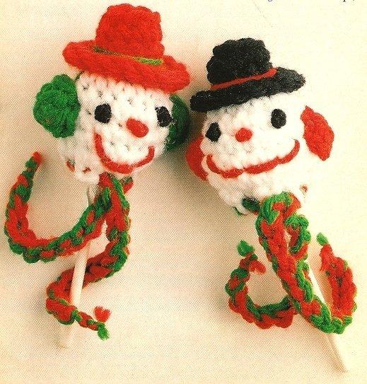 X272 Crochet PATTERN ONLY Snowman Lollipop Ornament Pattern & Bonus