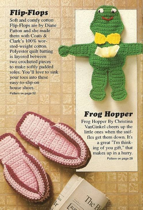 Y285 Crochet PATTERN ONLY Frog Tissue Doll & Flop-Flops Patterns