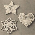 X778 Crochet PATTERN ONLY 3 Christmas Ornament Star Snowflake Heart