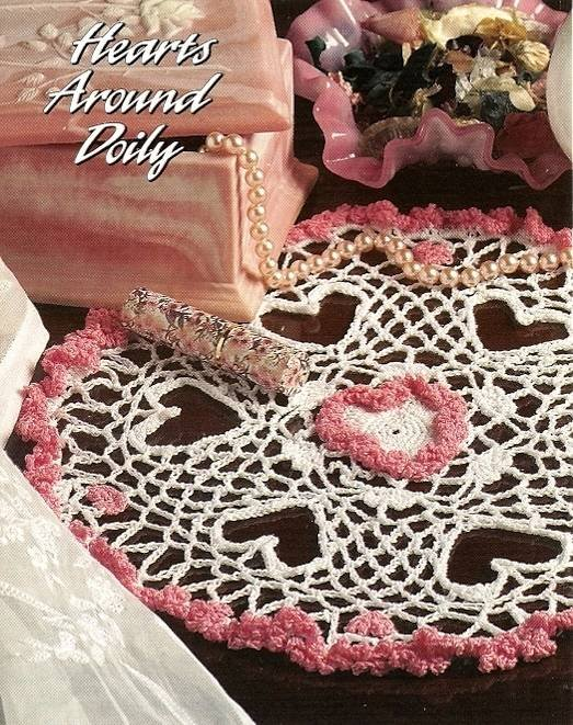 Y605 Crochet PATTERN ONLY Frilly Hearts Around Valentine Doily Pattern