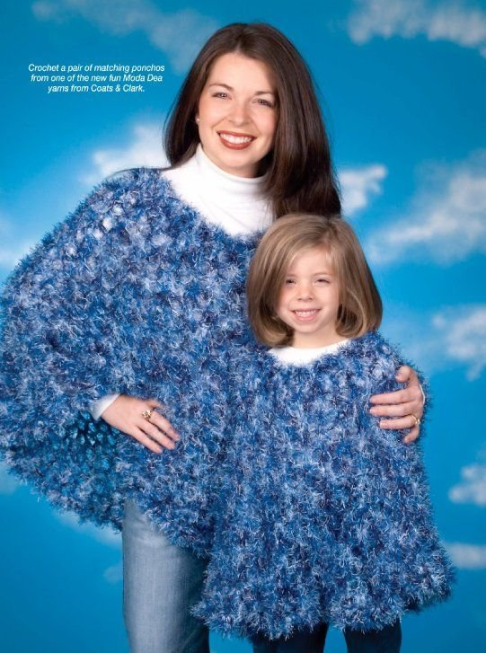 W273 Crochet PATTERN ONLY Light and Airy Mom and Daughter Poncho Patterns