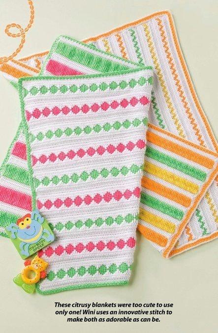 W278 Crochet PATTERN ONLY Reversible Bright Baby Blanket Patterns