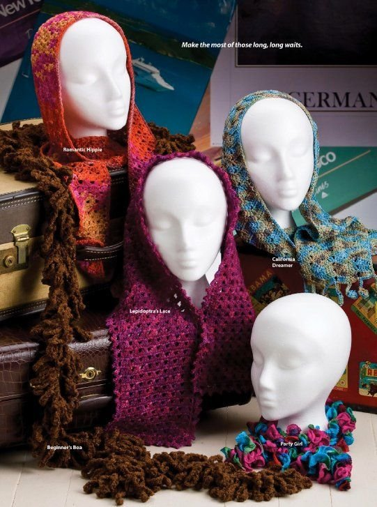 W281 Crochet PATTERN ONLY 4 Styles of Easy Airport Scarves Scarf Patterns