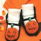 Y756 Crochet PATTERN ONLY Jack-o-Lantern Baby Booties Halloween Pattern