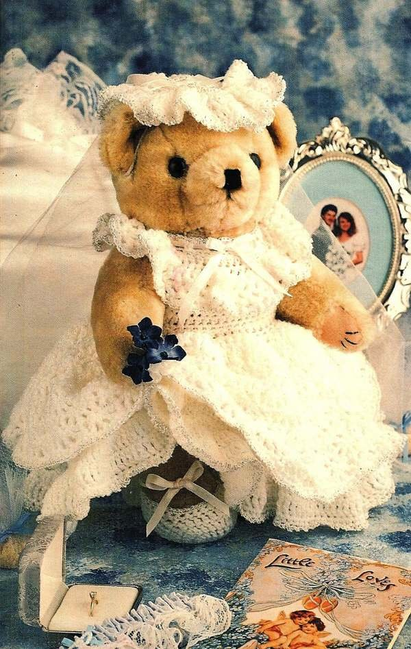 X405 Crochet PATTERN ONLY Bridal Bear Doll Dress Pattern