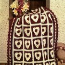 W011 Crochet PATTERN ONLY Country Hearts Afghan Pattern Valentine