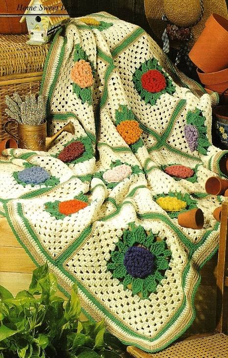 Y097 Crochet PATTERN ONLY Grandmother's Zinnia Afghan Throw