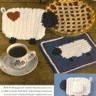 X975 Crochet PATTERN ONLY Lamb Heart Place Mat Hot Pad Potholder Napkin Ring
