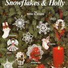 X787 Crochet PATTERN Book ONLY Snowflakes & Holly Stocking Angel Basket Napkin