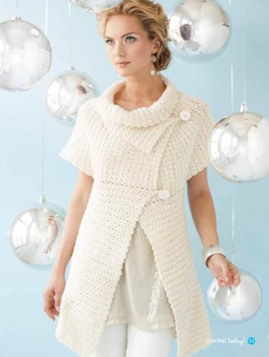 Y297 Crochet PATTERN ONLY Ladies Capelet Cardigan Sweater Pattern