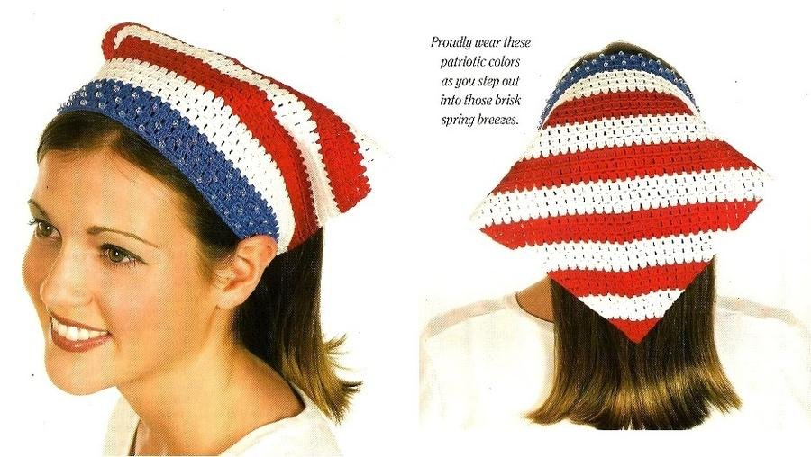 Y989 Crochet PATTERN ONLY Red White Blue USA Flag Head Scarf Pattern Beginner
