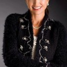 X173 Crochet PATTERN ONLY Black & White Elegant Holiday Cardigan & Velvet Scarf