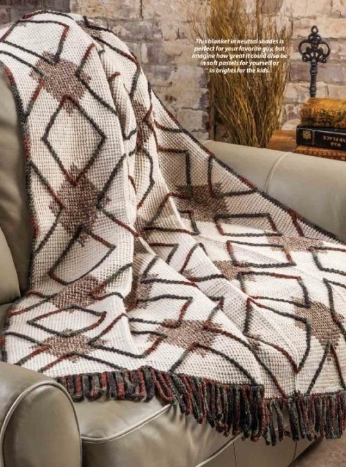 W333 Crochet PATTERN ONLY Woodsy Argyle Afghan Blanket Pattern