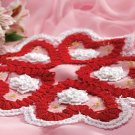 W138 Crochet PATTERN ONLY Intricate Bruges Crochet & Roses Queen of Hearts Doily