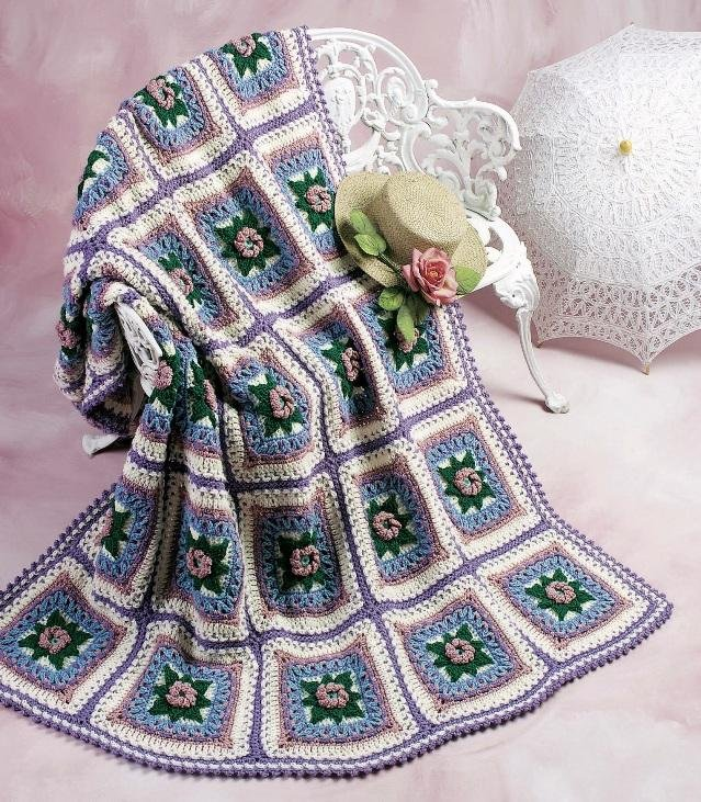 W139 Crochet PATTERN ONLY Shadow Box Rose Afghan Pattern