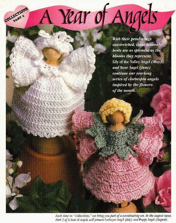 Y309 Crochet PATTERN ONLY Clothespin Angels Rose & Lily of the Valley Patterns