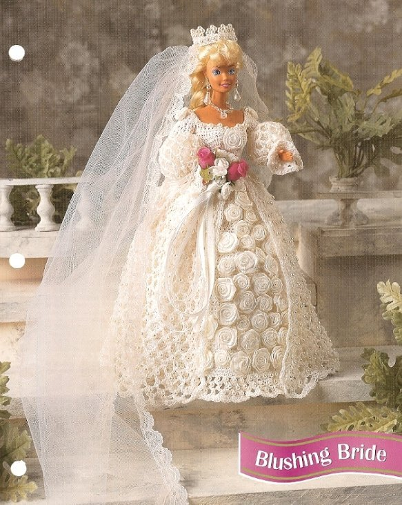 x226 crochet pattern only blushing bride wedding gown barbie fashion doll. Black Bedroom Furniture Sets. Home Design Ideas