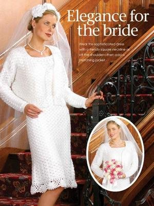 W129 Crochet PATTERN ONLY Elegance for the Bride Short Dress and Jacket Pattern