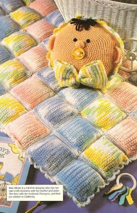 Y378 Crochet PATTERN ONLY Rainbow Baby Blanket & Pillow Pattern Set
