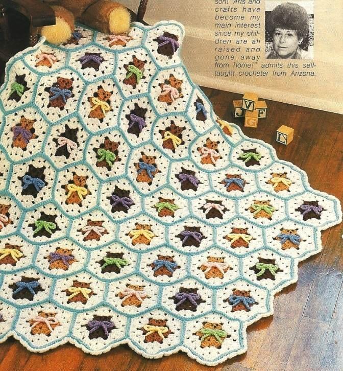 X564 Crochet PATTERN ONLY Baby Bears Afghan Pattern Teddy Pattern