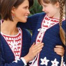 W150 Crochet PATTERN ONLY Red White & Blue Mother Daughter Twin Set Pattern
