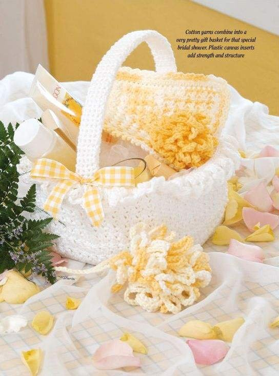 W073 Crochet PATTERN ONLY Bridal Shower Gift Basket Facecloth Bath Puffs Pattern