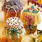Y582 Crochet PATTERN ONLY 3 Lacy Bead Crochet Floral Jar Lid Covers Patterns