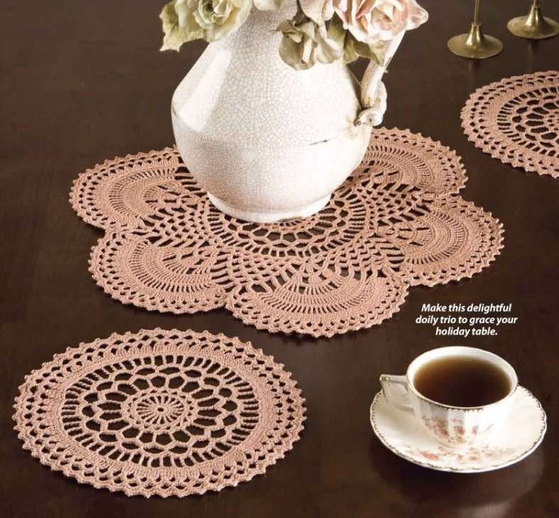 Y782 Crochet PATTERN ONLY 2 Copper Mist Doily Patterns Large and Small