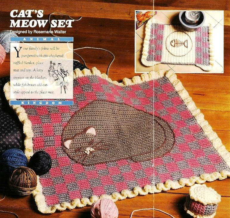 Y698 Crochet PATTERN ONLY Cat's Meow Nap Pad, Place Mat and Toy Patterns