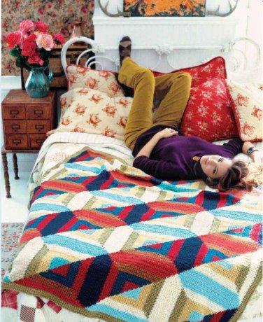X792 Crochet PATTERN ONLY Log Cabin Afghan Blanket Throw