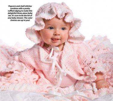 W050 Crochet PATTERN ONLY Cherry Blossom Baby Blanket Sweater Bonnet Pattern