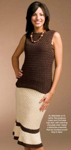 W066 Crochet PATTERN ONLY Delicate Chocolate Cream Tulip Skirt & Shell Pattern