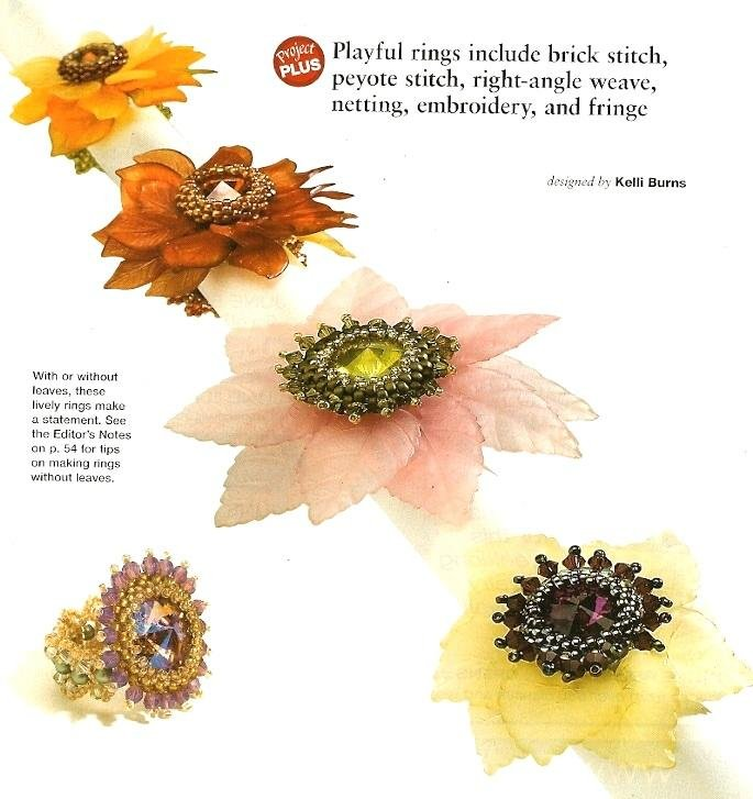 Y961 Bead PATTERN ONLY Multi Stitch Floral Ring Pattern