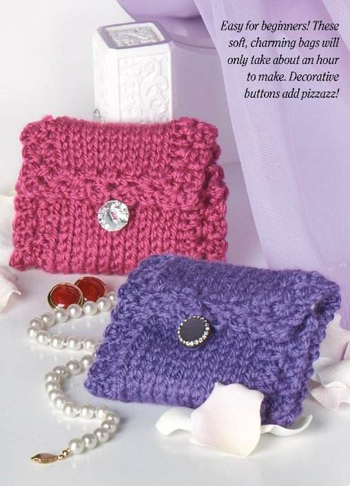 W198 Crochet PATTERN ONLY Knit-Look Little Jewelry Bag Pattern