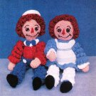 W193 Crochet PATTERN ONLY Curly Leg Raggedy Rag Dolls Bill Betty Patterns